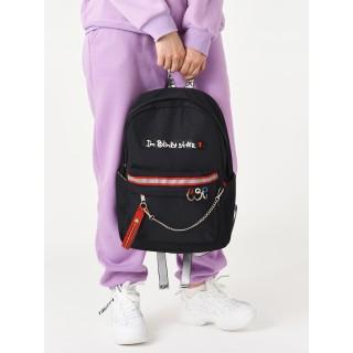 Рюкзак «Shh! Quiet!» черный с кольцами